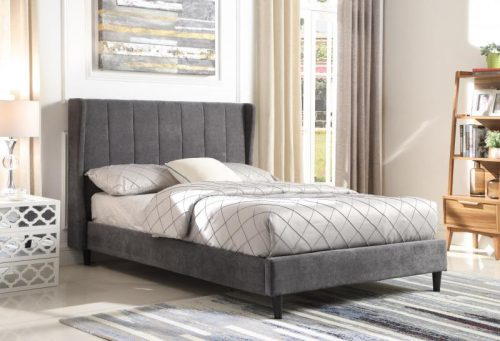 200-203-077 Amelia 4'6 Bed Dark Grey Fabric - IWFurniture