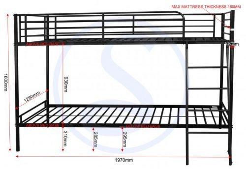 200-205-004Brandon 3′ Bunk Bed Black - IWFurniture