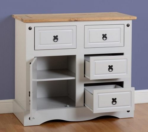 400-405-017 Corona 1 Door 4 Drawer Sideboard Grey - IWFurniture