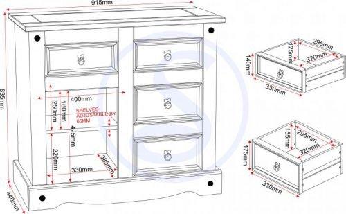 400-405-007 Corona 1 Door 4 Drawer Sideboard Pine - IWFurniture