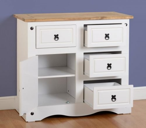 400-405-018 Corona 1 Door 4 Drawer Sideboard White - IWFurniture