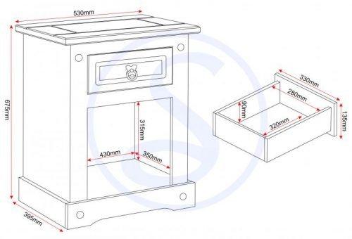 100-103-040 Corona 1 Drawer 1 Door Bedside Cabinet Grey - IWFurniture