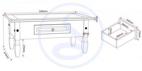 300-301-030 Corona 1 Drawer Coffee Table Grey - IWFurniture