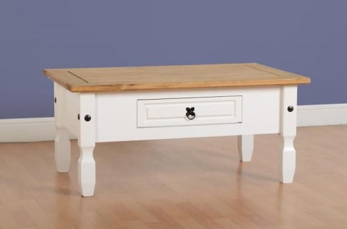 300-301-031 Corona 1 Drawer Coffee Table White - IWFurniture
