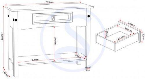 300-304-009 Corona 1 Drawer Console Table with Shelf Grey - IWFurniture