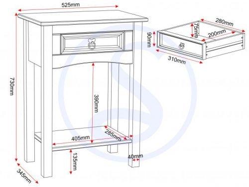 300-304-002 Corona 1 Drawer Console Table with Shelf Pine - IWFurniture