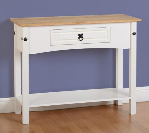 300-304-010 Corona 1 Drawer Console Table with Shelf White - IWFurniture