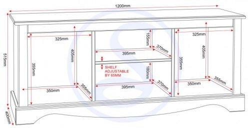 300-305-008 Corona 2 Door 1 Shelf Flat Screen TV Unit Pine - IWFurniture