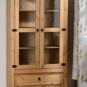 Corona 2 Door 2 Drawer Glass Display Unit Pine 1