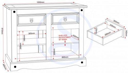 400-405-008 Corona 2 Door 2 Drawer Sideboard Pine - IWFurniture