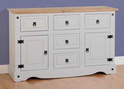 400-405-020 Corona 2 Door 5 Drawer Sideboard Grey - IWFurniture