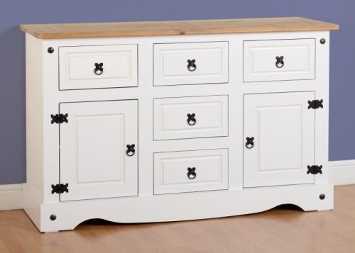 400-405-021 Corona 2 Door 5 Drawer Sideboard White - IWFurniture