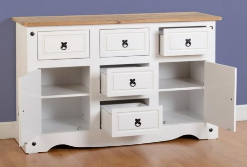 400-405-021 Corona 2 Door 5 Drawer Sideboard White - IWFurniture