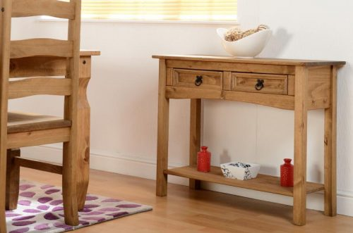 300-304-003 Corona 2 Drawer Console Table with Shelf Pine - IWFurniture