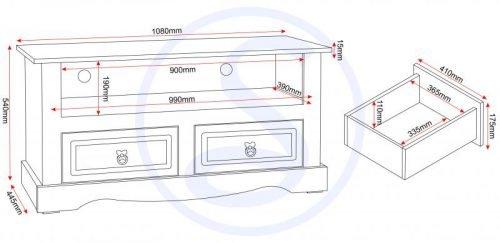 300-305-026 Corona 2 Drawer Flat Screen TV Unit Grey - IWFurniture