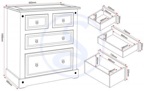 100-102-073 Corona 2 plus 2 Drawer Chest Grey - IWFurniture