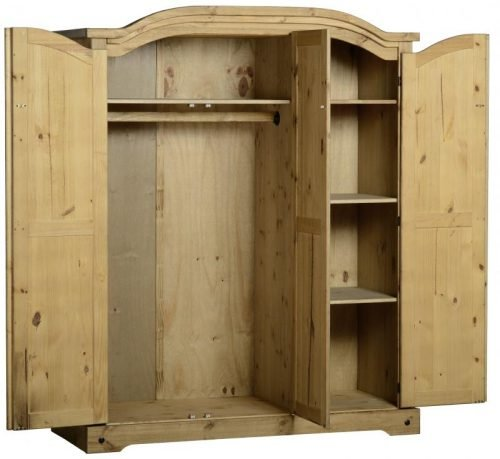 100-101-023 Corona 3 Door Wardrobe Pine - IWFurniture