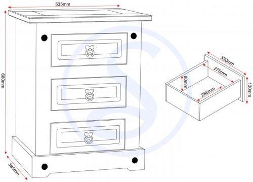 100-103-035 Corona 3 Drawer Bedside Chest White - IWFurniture