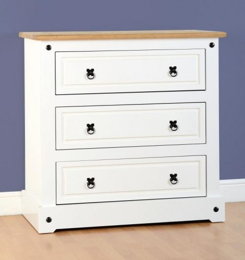100-102-061 Corona 3 Drawer Chest White - IWFurniture