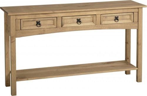 300-304-004 Corona 3 Drawer Console Table with Shelf Pine - IWFurniture