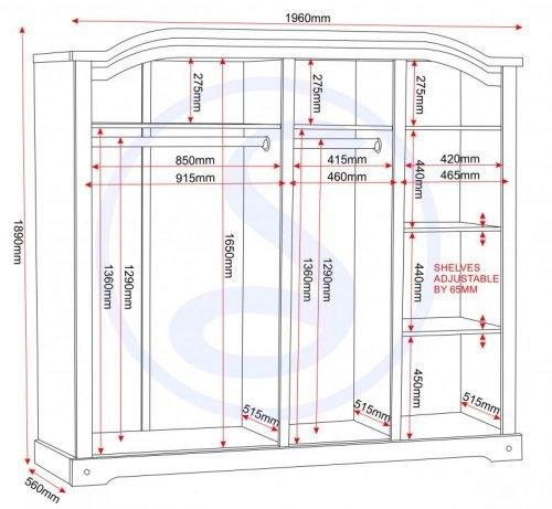 100-101-024 Corona 4 Door Wardrobe Pine - IWFurniture