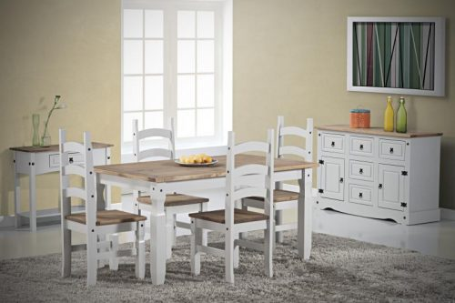400-401-135 Corona 5ft Dining Set White - IWFurniture