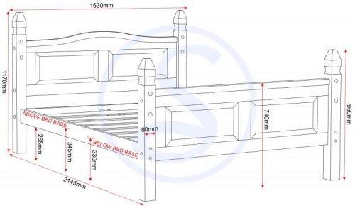 200-204-004 Corona 5ft Bed High Foot End Pine - IWFurniture