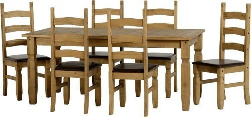 400-401-039 Corona 6ft Dining Set Pine Brown Faux Leather - IWFurniture