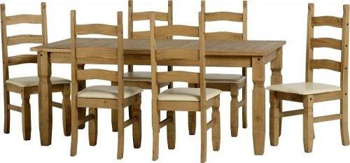 400-401-038 Corona 6ft Dining Set Pine Cream Faux Leather - IWFurniture