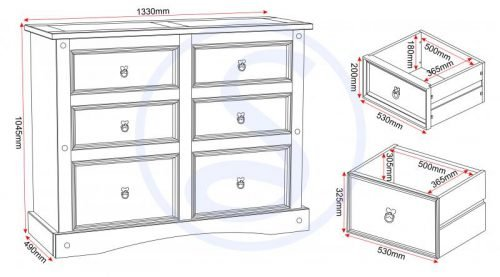 100-102-027 Corona 6 Drawer Chest Pine - IWFurniture