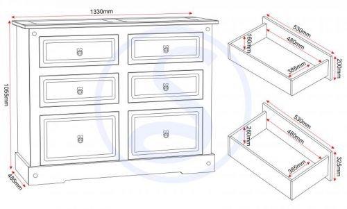 100-102-062 Corona 6 Drawer Chest White - IWFurniture