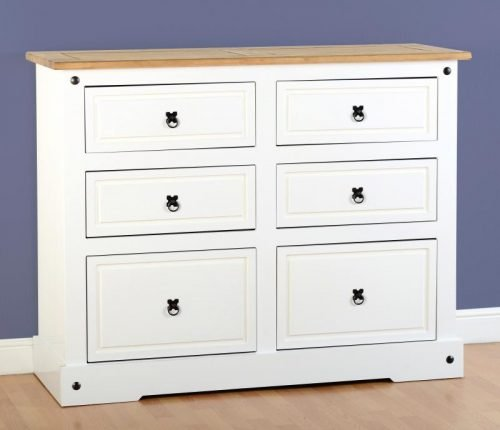 100-102-062 Corona 6 Drawer Chest White - IWFurniture