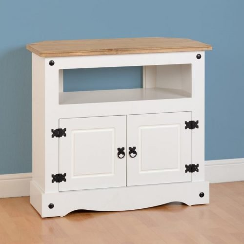 300-305-036 Corona Corner TV Cabinet White - IWFurniture