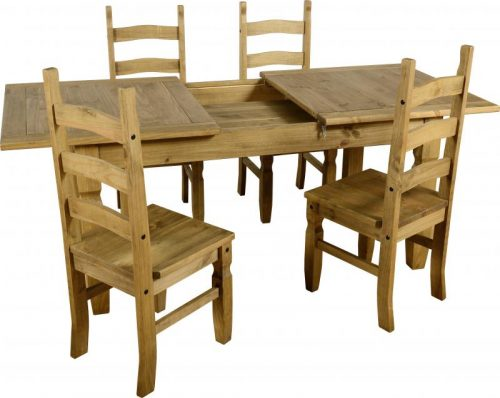 400-401-041 Corona Extending Dining Set (1 and 4) Pine - IWFurniture