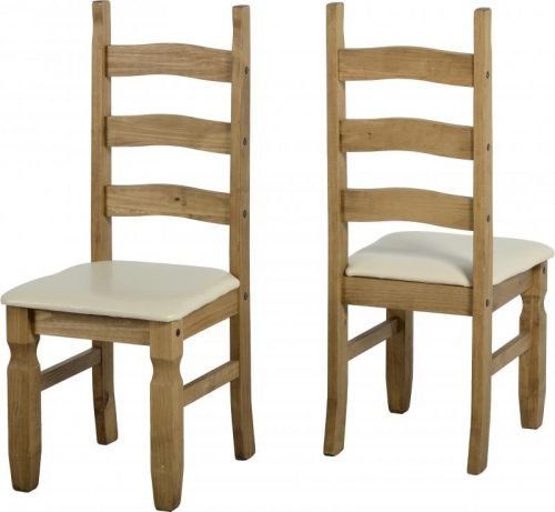 400-401-045 Corona Extending Dining Set (1 and 6) Pine Cream Faux Leather - IWFurniture