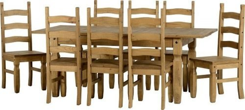 Corona Extending Dining Set (1+8) Pine - IWFurniture