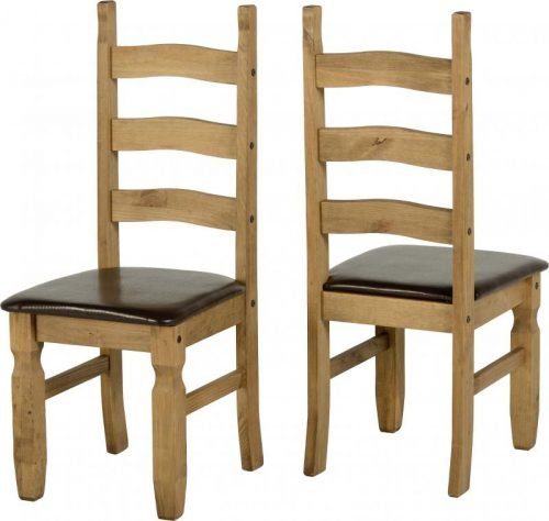 400-401-049 Corona Extending Dining Set (1 and 8) Pine Brown Faux Leather - IWFurniture