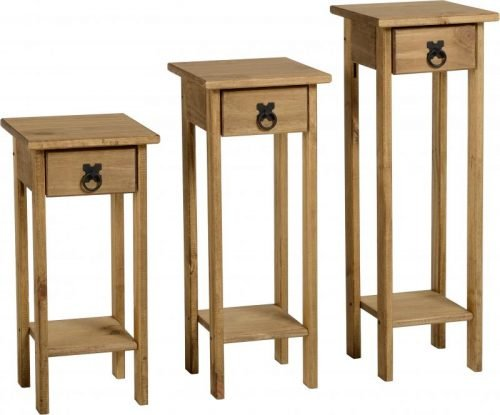 300-320-003 Corona Plant Stands (Set of 3) Pine - IWFurniture