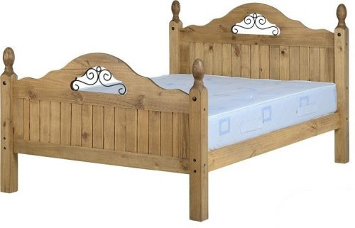 200-203-011 Corona Scroll 4'6 Bed High Foot End Pine - IWFurniture