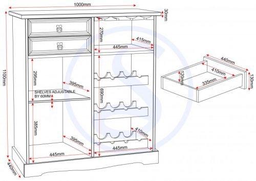 400-405-022 Corona Sideboard Wine Rack Unit Pine - IWFurniture