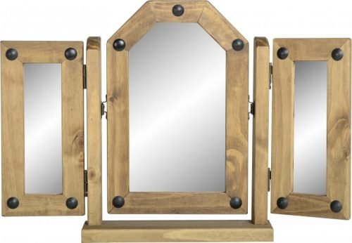 600-603-006 Corona Triple Swivel Mirror Pine - IWFurniture