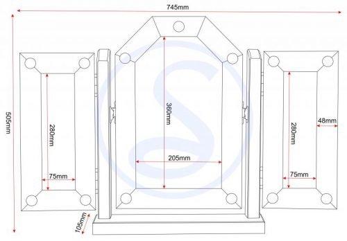 600-603-006 Corona Triple Swivel Mirror Pine - IWFurniture