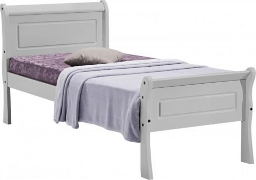 200-201-052Georgia 3ft Single Sleigh Bed Grey - IW Furniture Beds