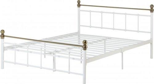 200-203-069Marlborough 4'6 Bed White-Antique Brass - IWFurniture