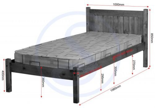 200-201-016Maya 3′ Bed in Distressed Waxed Pine – IW Furniture Beds