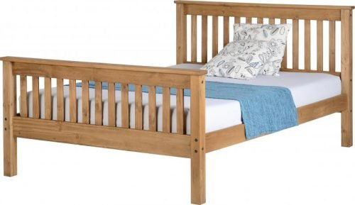 200-203-026 Monaco 4'6 Bed High Foot End Distressed Waxed Pine - IWFurniture