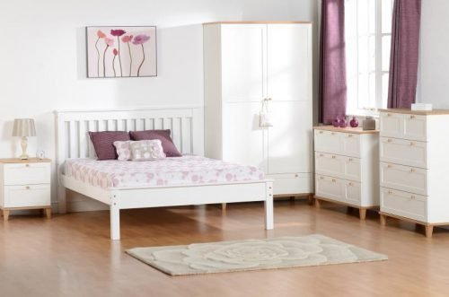 200-203-030 Monaco 4'6 Bed Low Foot End White - IWFurniture