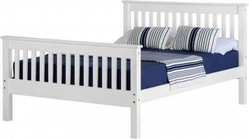 200-202-011 Monaco 4ft Bed High Foot End White – IW Furniture