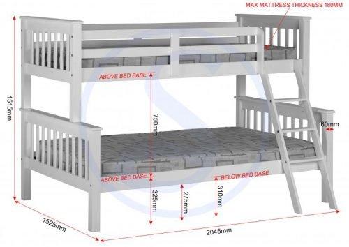 200-205-011Neptune Triple Sleeper Bunk Bed White - IWFurniture