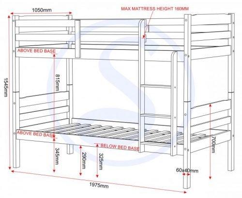 200-205-018 Panama 3′ Bunk Bed White - IWFurniture